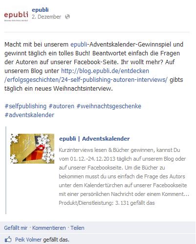 epubli Facebook-Post Adventskalender